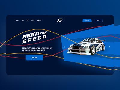 Need For Speed Landing Page Daily UI white dailyui web branding ui clean blue car web design design logo uiux website