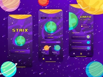 STRIX Mobile Space App purple yellow space animation app mobile app ui mobile branding logo uiux illustration design