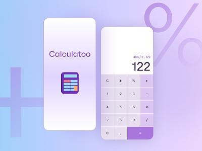 Calculatoo Mobile Apps dailyui purple minimal flat typography ui mobile app mobile illustration uiux website design