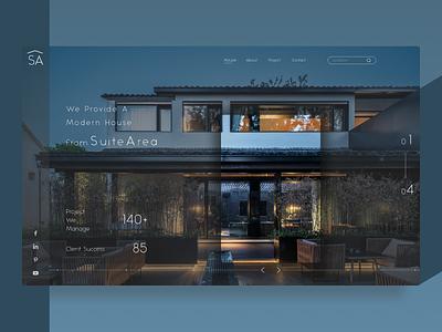 SuiteArea Modern House Provider house home concept uidesogn clean minimal flat typography web design branding logo uiux illustration website design