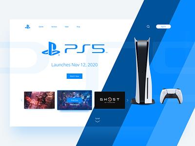 PS 5 Concept Landing Page landing page ps5 blue white clean ui clean minimal web web design ux branding logo uiux design website