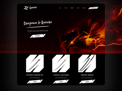 Quinsha Landing Page typography dark landing page web design illustration logo branding uiux design website