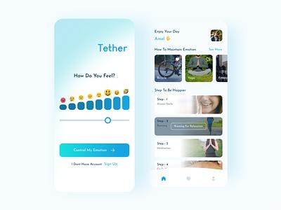 Tether Mental Control - Mobile App healthy health mental flat minimal clean app mobile app mobile ui uiux website design