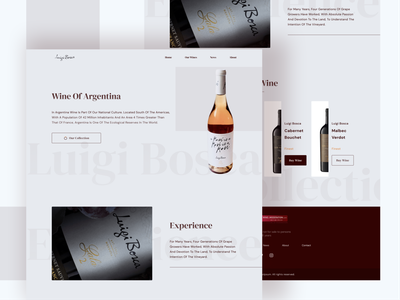 Wine Website Landing Page Design flat minimal logo branding typography ui web design uiux illustration website design