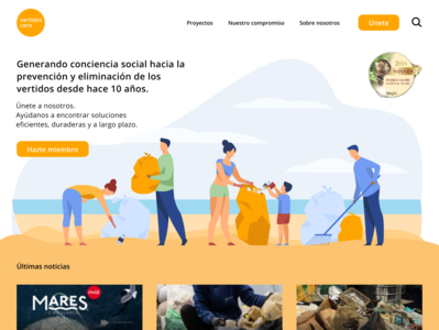 Re-Design Vertidos Cero redesign nonprofit recycle plastic beach vertidoscero wastezero webdesign design vector branding logo ux