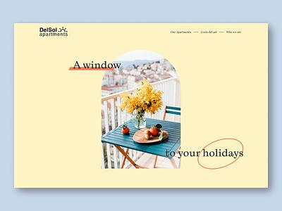Hero section design - Web design agency yellow holidays window costa del sol apartments web design ui ux visual design ui design ux design