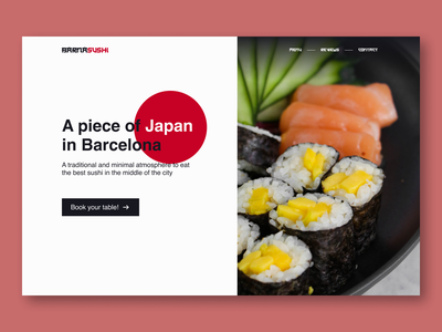 Sushi minimal restaurant hero section - Web design #3 minimal barcelona book booking red japan sushi website design ui design ux design ui ux web design