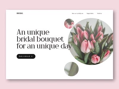 Minimal Hero Section - Web design - Bridal Bouquet store minimal design minimal book ui designer ux designer green pink flowers web design hero section ui design ui design ux