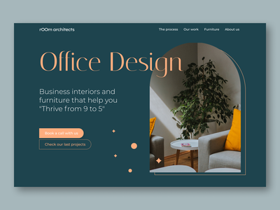Trendy window - Hero Section - Web design orange green furniture business interiors book a call architects office office design ux design agency web design visual design ui design ux design