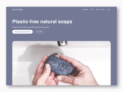 Web design - Hero section - Soap plastic-free solutions. hero section flat design charcoal charcoal soap soaps ui design ux design web design design ui ux