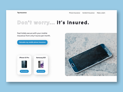 Tap insurance - Web design - Hero section insurance company claim mobile calculate web design sky blue blue iphone samsung mobile phone phone insurance
