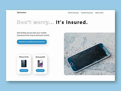 Tap insurance - Web design - Hero section insurance company claim mobile calculate web design sky blue blue iphone samsung mobile phone phone insurance