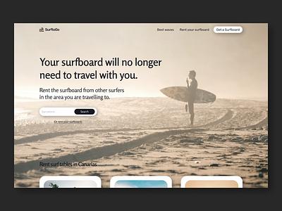Hero section - Web design - Surfboard rental platform searchbar waves beach canarias barcelona surf rental app rent surfboard hero section web design design ui ux