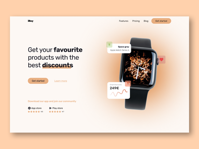 Web design - Hero section - Get products with discounts products playstore app store discounts apple watch apple hero section ux design web design ui design design ui ux