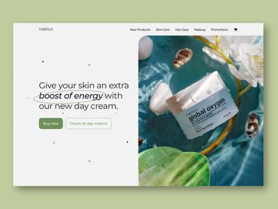 ConceptHero Section for Faberlic cosmetics - Web design energy skin skincare buy now green blue cosmetics daycream faberlic flat branding minimal hero section ux design web design ui design design ui ux