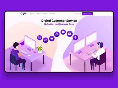 Digital Customer Service digital customer service glia cx web design ux vector ui illustration