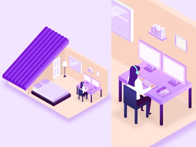 Working From Home working from home web branding web design vector illustration glia design
