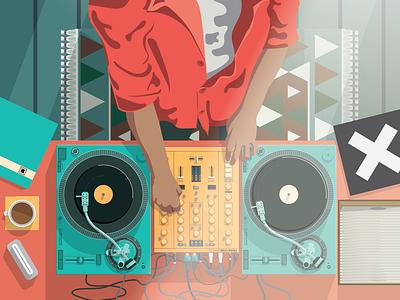 Turntables Illustration vector illustrator coffee stack session playing music vinyls vinyl blue turntables turntable
