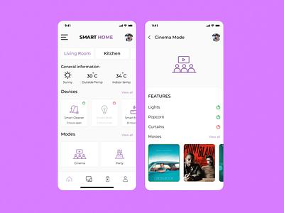 Smart Home App mode application consept simple figma home house ultraviolet smarthome smart home mobile app concept ios concept minimal clean ux design ui dribbble app