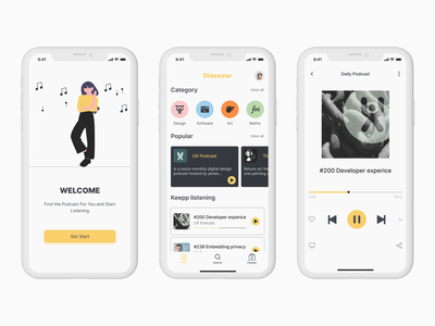 Podcast App podcasting podcast logo figma modern black yellow podcasts music app dribbble design concept minimal ios mobile ux ui clean music app podcast