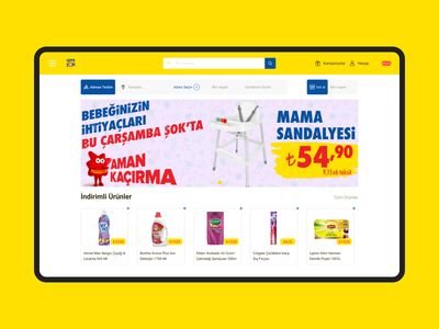 E-commerce Landing Page - Şokmarket desktop design blue yellow symbol simple minimal concept clean ui web web design website website design e-comerce e-commerce shop e-commerce design shop shopping shopping cart
