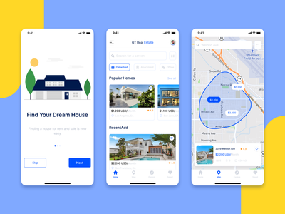 Real Estate App real usd mockup map mobile ui blue app design ui modern building ux ios minimal mobile app clean apartments house apartment realestate mobile