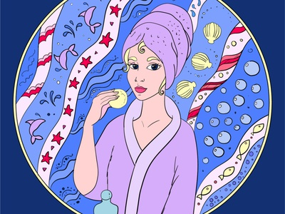 Girl in the bathroom decorative vector design illustration
