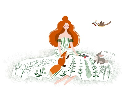 Girl in nature 🌿 nature decorative vector illustration design