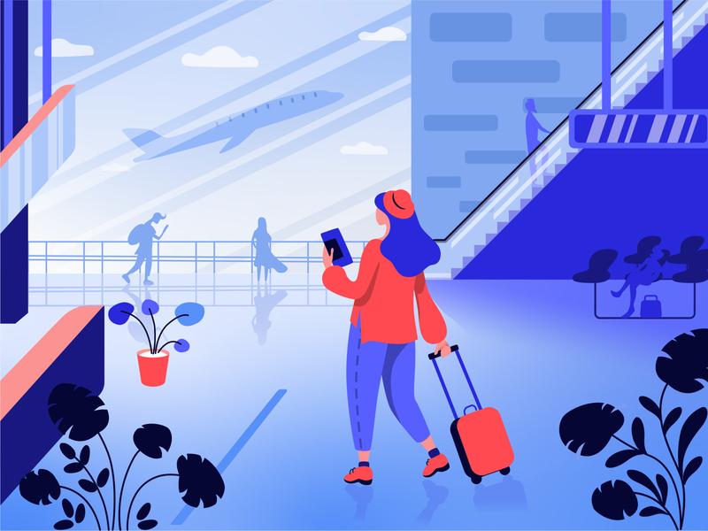 airport flat vector illustration design