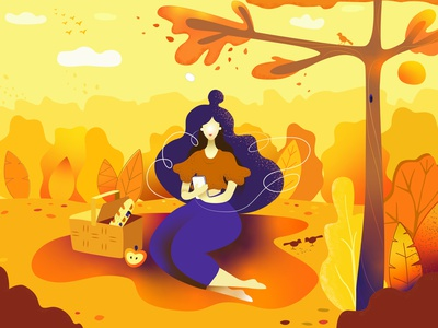 Warm autumn  🍁 enjoy in the park weekend picnic flat decorative illustration vector design