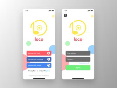 Sign Up / Sign In   Loco Music Streaming App logo illustration typography icon ux ui minimal flat design app