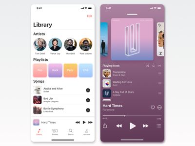 Music Player minimalistic simple clean musician artist ui design player dailyui ios app design flat illustration ios design ux ui app minimal music app music music player