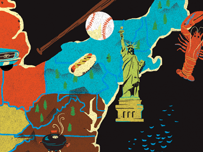 Map of America map illustration icon america usa us united states of america baseball lobster new england statue of liberty new york hot dog