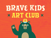 Brave Kids Art Club club art youtube drawing animals bear retro character illustration
