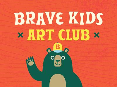 Brave Kids Art Club club art youtube drawing animals bear retro character illustration