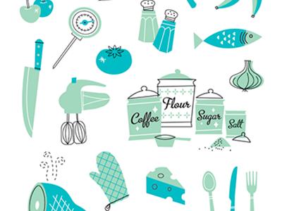 50's Cookbook 1950 50s kitchen cookbook food cooking illustration icons utensils bake