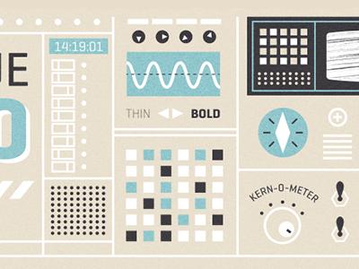Font Dashboard font kern dashboard machine tech interface illustration intercom switches buttons knobs dials
