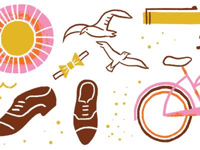 High School And Summer high school summer bike cruiser beach sun seagulls bow tie shoes sand editorial illustration