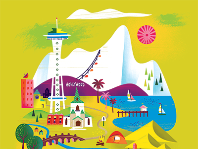 Road Tripping illustration work life directory uppercase feature seattle space needle mountains camping beach trees road trip