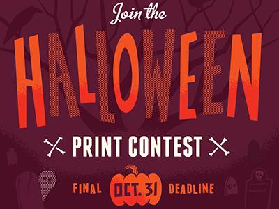 Halloween Print Contest halloween print contest illustration screen print pumpkin ghost bones tombstones graveyard tree