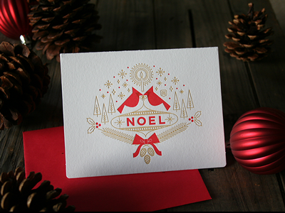 NOEL Letterpress Holiday Card card holiday letterpress noel snowflakes bows christmas pinecone ornament
