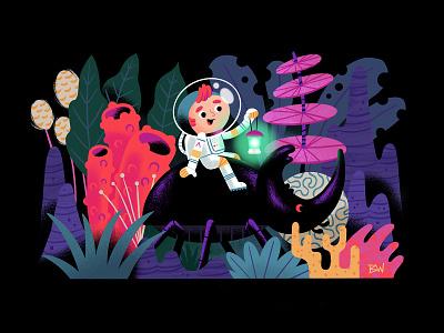 Exploring New Worlds character procreate digital illustration glow plants jungle beetle exploration alien planet astronaut explore