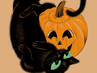Cat and Jack procreate ipad pro art illustration vintage retro friends pumpkin halloween black cat cat