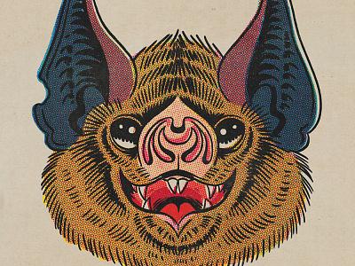 Halftone Bat illustration retrosupply photoshop offset color halftone halftone bat vintage retro comics