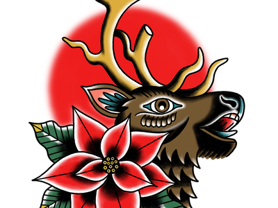 Reindeer Tattoo illustration christmas american traditional holiday reindeer tattoo