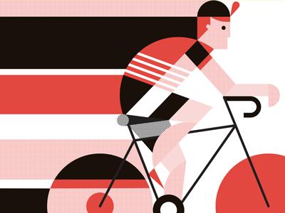 Red Racer biker bicycle man rider vela bike race