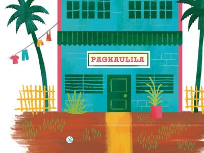 Orphanage orphanage kids philippines house toys palm trees fence yard illustration book