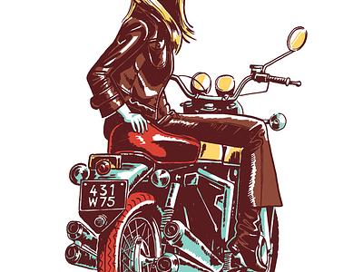 Woman On Motorcycle woman bike motorcycle vintage retro illustration art character