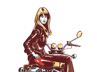 Woman on motorcycle large