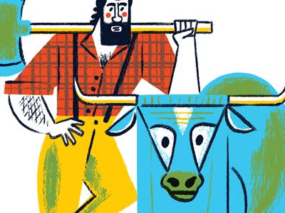 Paul And Babe paul bunyan paul bunyan bull ox flannel giant character illustration beard lumberjack woodsman